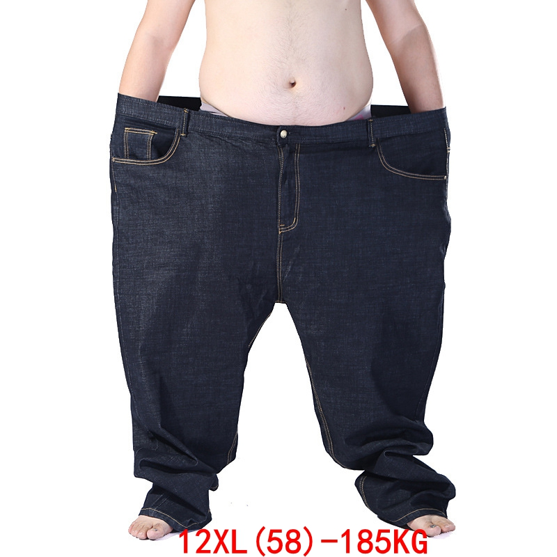 Large Size Men's Jeans 185KG Plus Size 9XL 10XL 11XL 12XL Autumn And Winter Pants Large Stretch Straight 50 54 56 58 Black Jeans