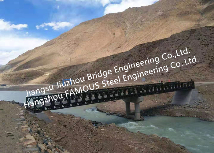 Prefabricated Bailey Steel Bridge For Water Conservancy Project Portable Structural Steel Bridge With Supporting Piers