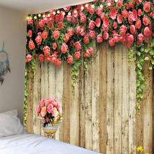 Print Clear 3D Wooden Flowers Tapestry wall hanging Bedspread Dorm Cover Beach Towel Backdrop Home Room