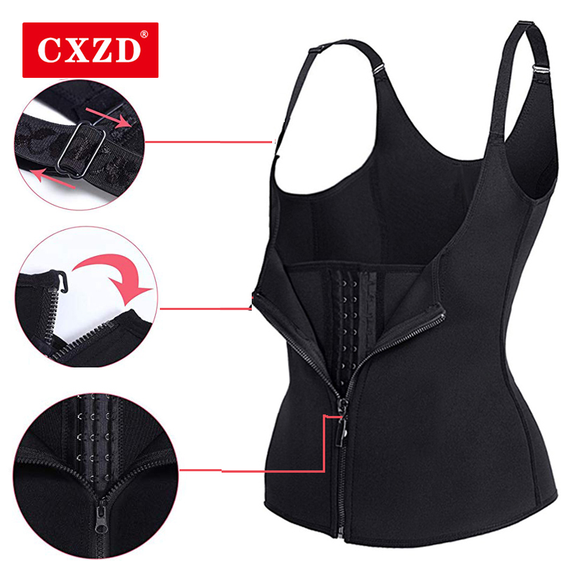 CXZD Womens Waist Trainer Corset Vest Slimming Body Shaper Cincher With Zipper & Adjustable Straps For Weight Loss