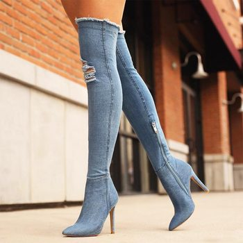 denim over knee boots women pumps 2020 fashion sexy open sock high heel boots zipper side heel winter boots women ladies shoes fashion denim over the knee boots sexy open toe high heel boots woman thigh high boots stiletto heels jeans boots