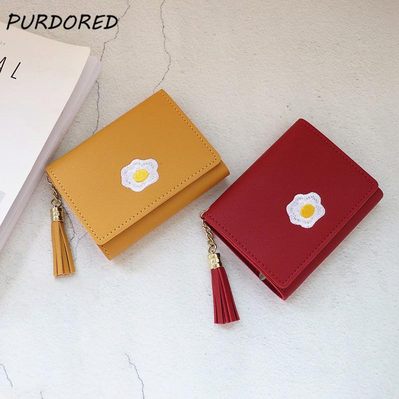 PURDORED 1 Pc Women Cartoon Short Wallet Leather Fried Egg Cute Wallets Purse Card Holder Lady Female Fashion Short Coin Purse