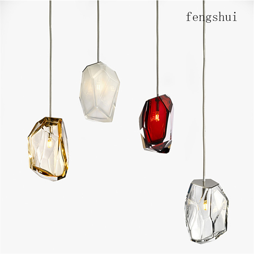 Nordic LED G4 Pendant Lights Lighting Colored Glass Crystal Pendant Lamp Bedroom Living Room Office Exhibition Hall Hanging Lamp