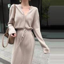 Длинное трикотажное платье для женщин элегантное однотонное
