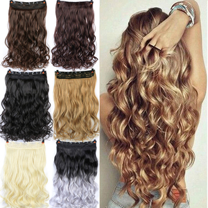 DIFEI, 24 дюйма, длинные волнистые волосы на клипсах, один кусок, синтетические волосы для наращивания, коричневый, черный, термостойкие волокна...