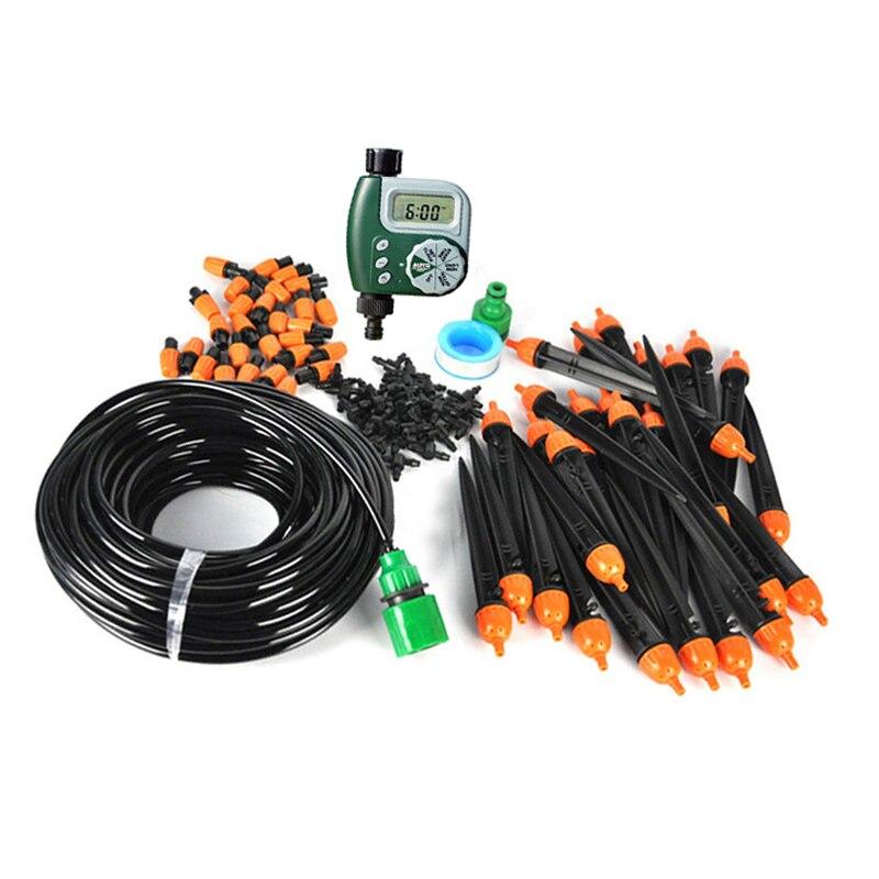 25 mt 8/11 Garten DIY Micro Drip Bewässerung System Anlage Selbst Automatische Bewässerung Timer Garten Schlauch Kits mit Einstellbare Tropf
