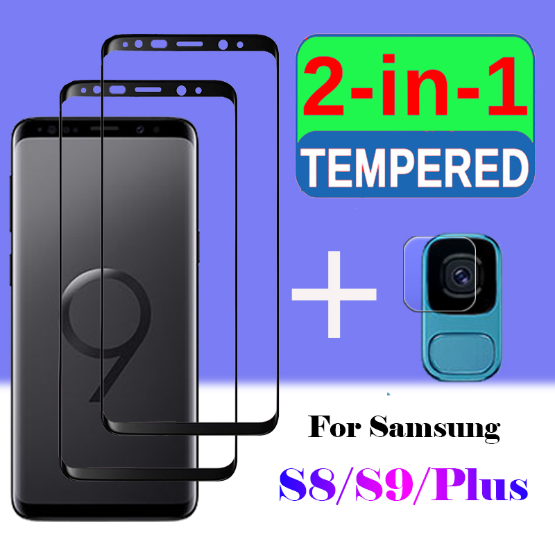 2in1 protective glass armored for <font><b>samsung</b></font> <font><b>galaxy</b></font> s8 plus screen protector samsum galax s9 <font><b>s</b></font> 8 <font><b>9</b></font> 8s cam with camera lens glass 3d image