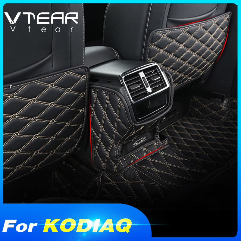 Vtear For Skoda Kodiaq Seat Rear Back Anti Kick Mat Cover Protect Cushion Dust-proof Car Anti-dirty Pad Car-styling Accessories