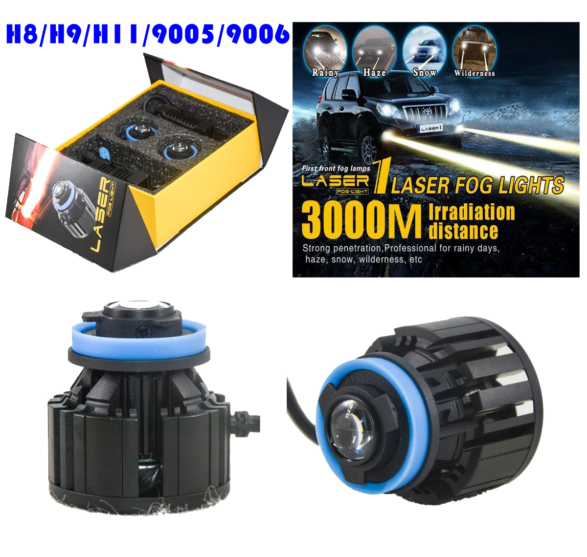 1 Set L1 LED Laser Fog Headlight Lights Bulbs H8 H9 H11 9005 9006 26W 2600LM 3000M Laser Meter Irradiation Distance Ultra Bright