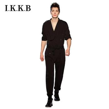 European and American shows casual jumpsuit loose jumpsuit spring summer fashion men's jumpsuit hair stylist jumpsuit фото
