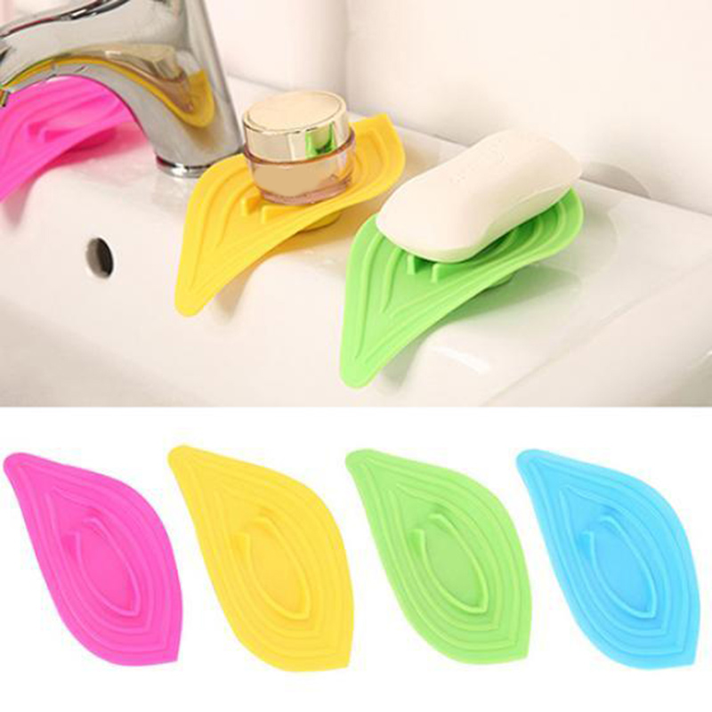 1 Pcs New Soap Dish Storage Sink Sponge Drain Holder Simple Leaf-Shaped Antiskid Soap Box Floor Type Functional Drain Easy Use