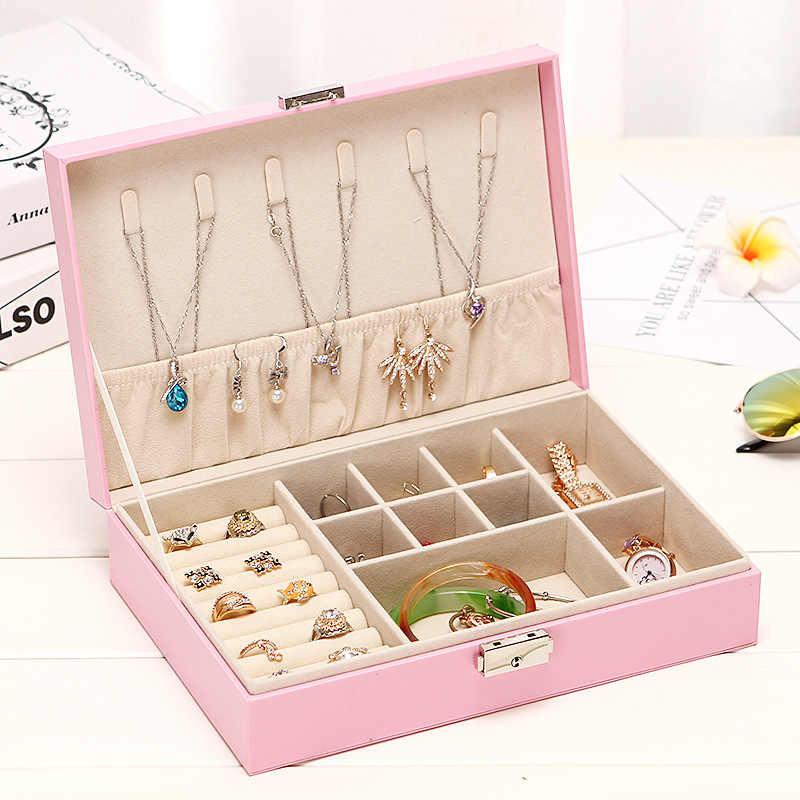 Tek katmanlı mücevher kutusu kilit yüzük kutusu el kutusu çok fonksiyonlu taşınabilir çok katmanlı soyunma durumda makyaj organizatör