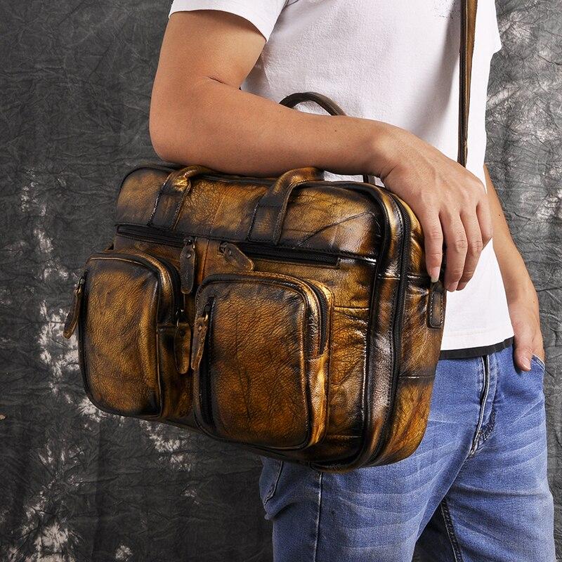 H4e20ca49cab142ffae16c7266d720fff8 Men Oil Waxy Leather Antique Design Business Travel Briefcase Laptop Bag Fashion Attache Messenger Bag Tote Portfolio Male k1013