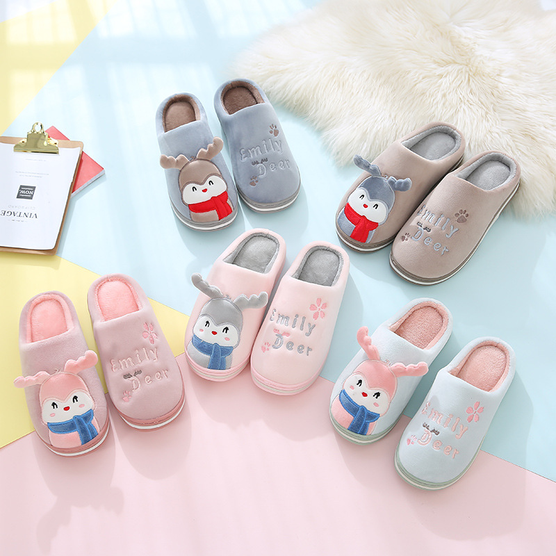 Women Slippers Slippers Indoor Bedroom Comfortable Shoes For Couple Slides Women Slip-On Shoes Home Shoes Bottom Soft Cotton Men