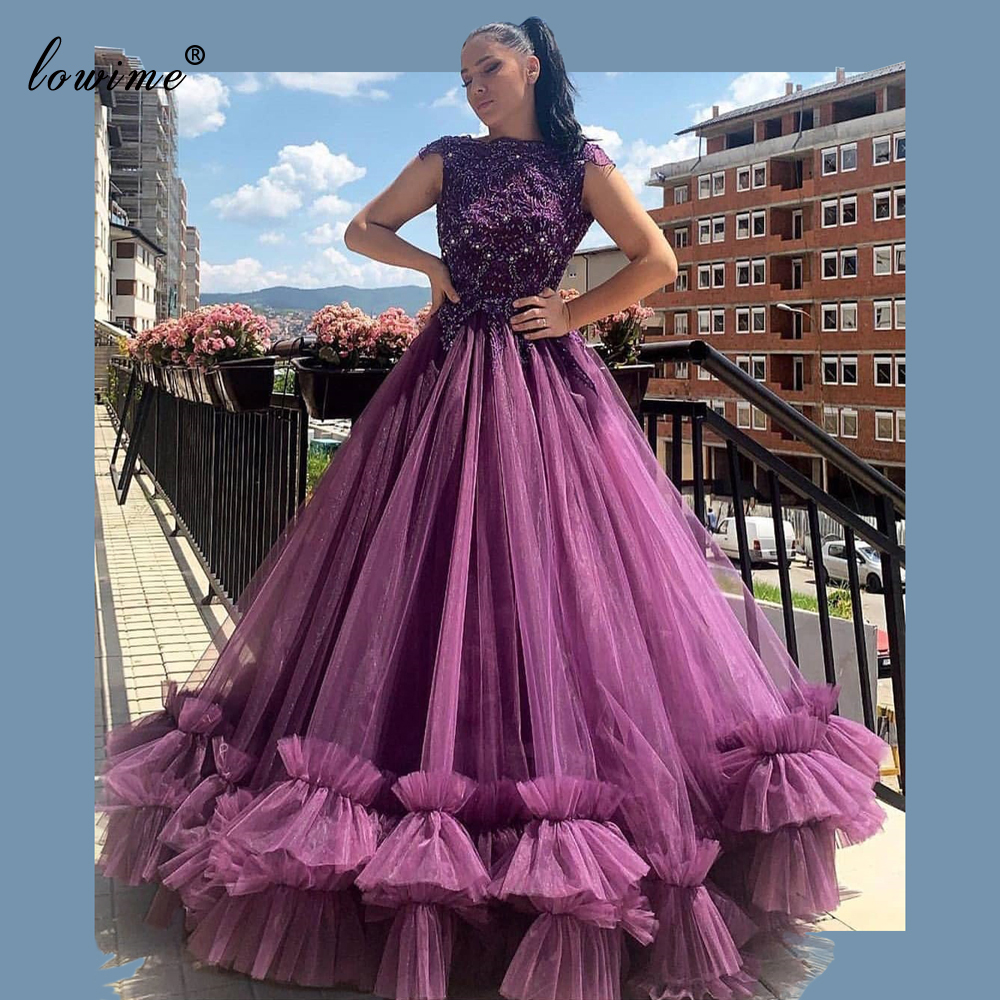 Popular Purple Beading Prom Dresses 2020 Middle East Vestidos De Gala Long Woman Photography Gowns Evening Party Dresses Custom