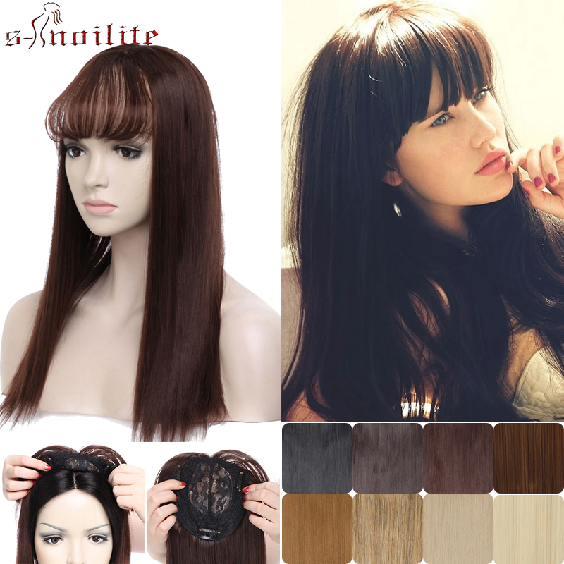 SNOILITE Long Straight Hair Extension Synthetic Hair Toupee Hairpiece Clip In One Piece Natural Topper Hair With Bangs For Women