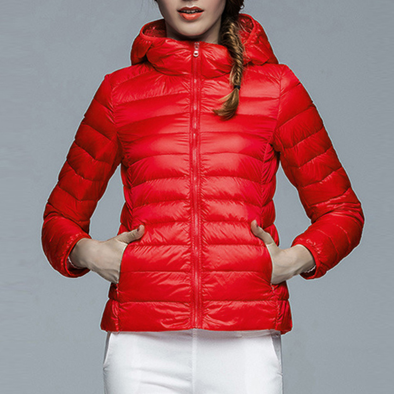 2019 New  Warm Casual Ultra Light Duck Down Jacket Women Coat Lady Plus Size 2XL Jackets Female Hooded Parka Autumn Winter
