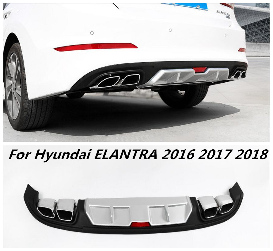 ABS Black Primer Car Rear Bumper Lip  Auto Car Diffuser Fits For Hyundai ELANTRA 2016 2017 2018|Bumpers|Automobiles & Motorcycles - title=
