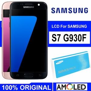 Image 1 - 5,1 Super Amoled дисплей с рамкой для SAMSUNG Galaxy S7 Плоский ЖК дисплей G930 G930F сенсорный экран дигитайзер в сборе Запасная часть