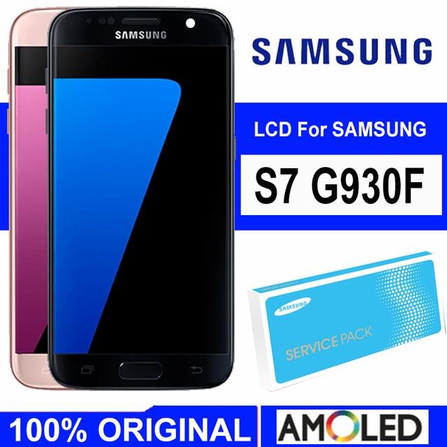 5,1 Super Amoled дисплей с рамкой для SAMSUNG Galaxy S7 Плоский ЖК дисплей G930 G930F сенсорный экран дигитайзер в сборе Запасная часть