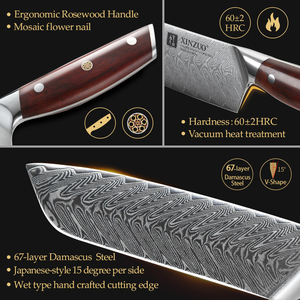 Image 4 - XINZUO 5 PCS Kitchen Knife Set Damascus Stainless Steel Knife Japanese New Chef Paring Santoku Slicing Utility Cooking Knives