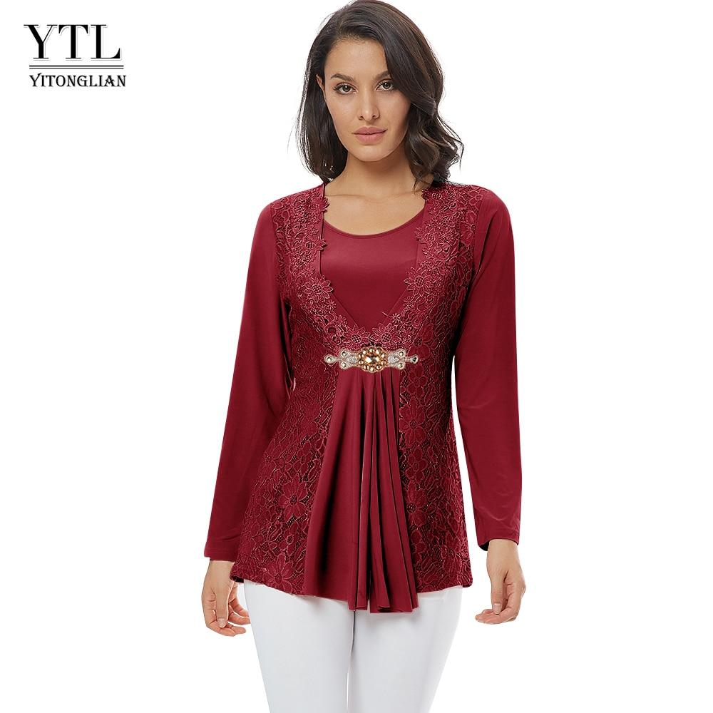 YTL Plus Size Women Blouse Elegant Diamond Lace Tunic Top Casual Vintage...
