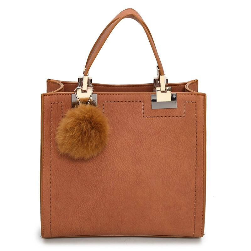 2020 New Brand Women Leather Handbags High Quality Top-Handle Bags Drop Shopping Tote With Fur Ball Shoulder Bag Messenger Bag