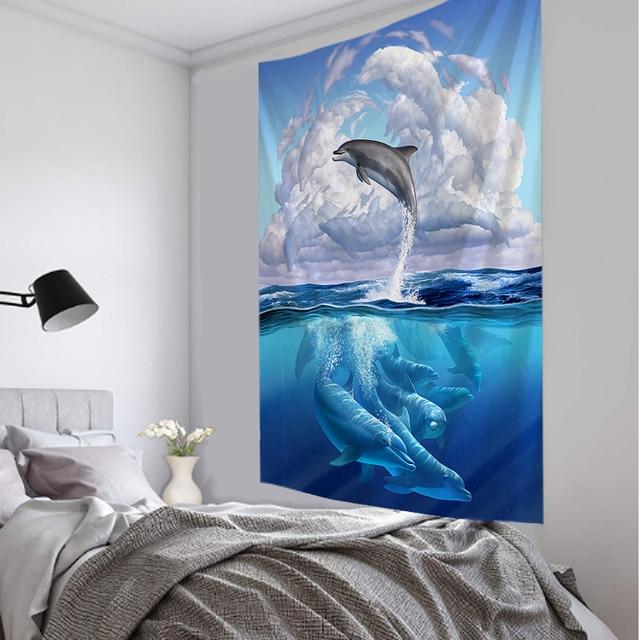 Cool 3D Animal Tapestry Dolphin Art Wall Hanging Living Room Decor Craftsmandala Decorative Thin Blanket Yoga
