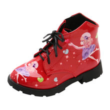 Kids New 2019 Zipper Girls Short Boots Print Little Girl Princess Leather Boots Shoes For Children #SS(China)