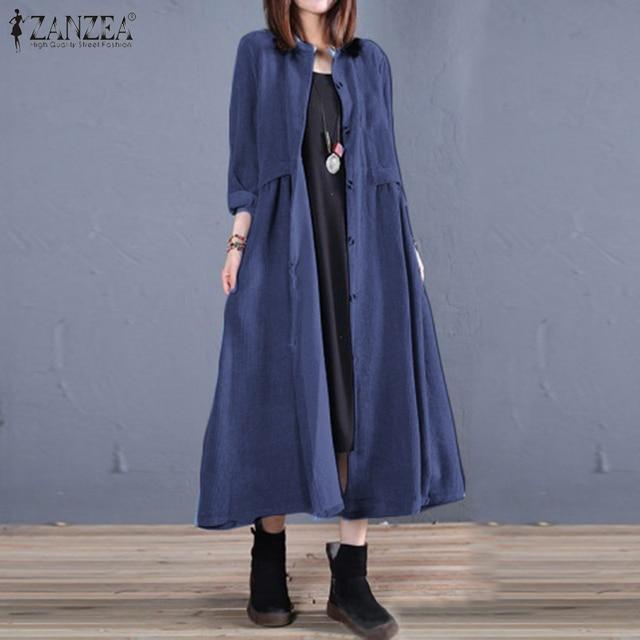Plus Size ZANZEA Spring Long Cardigan Women Casual Solid Long Sleeve Work Denim Blue Shirt Vestido Blouse Outwear Coats Tunic 7 4
