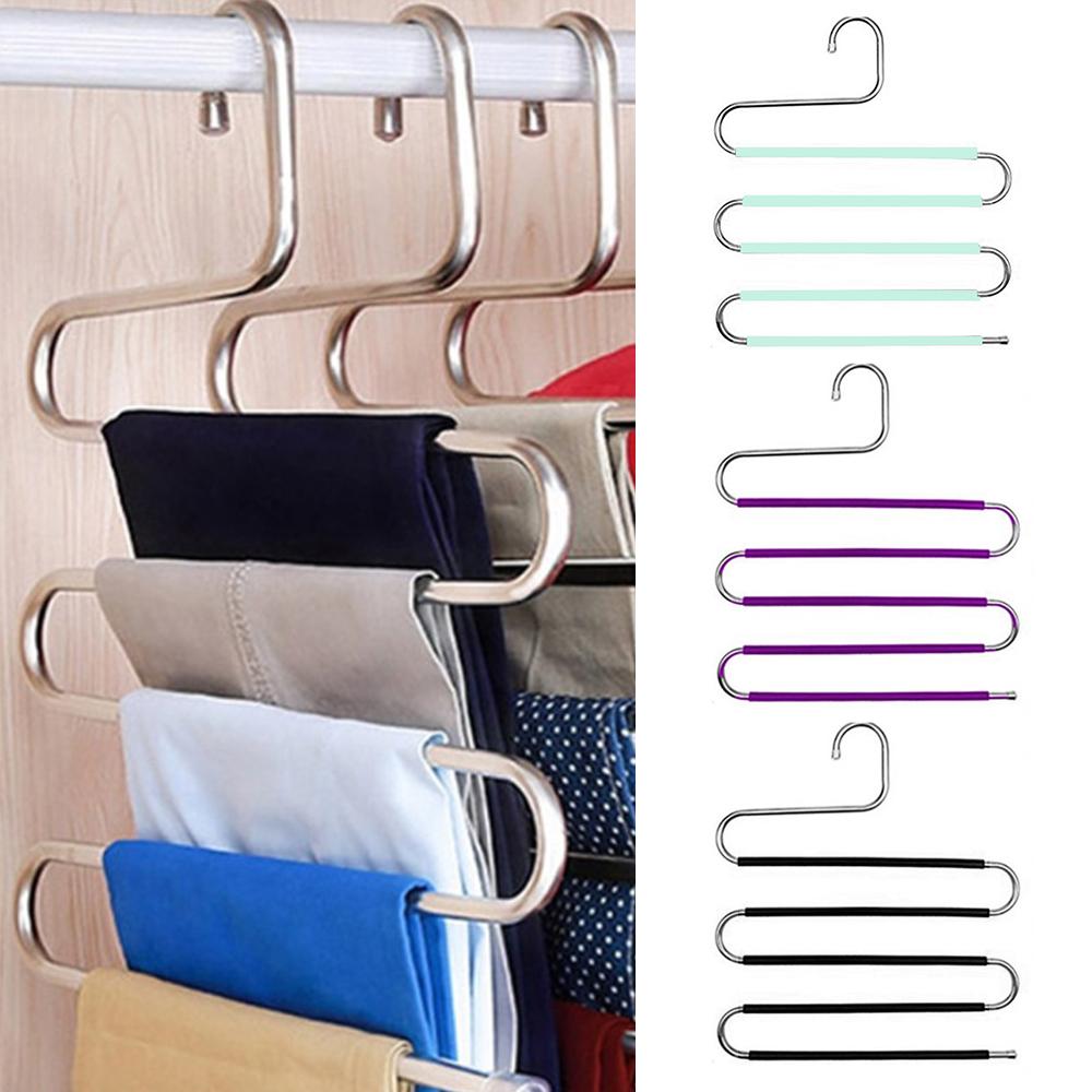 5 layers S Shape Clothes Hangers Pants Storage Hangers Cloth Rack Multilayer Storage Closet Organizer 1PC