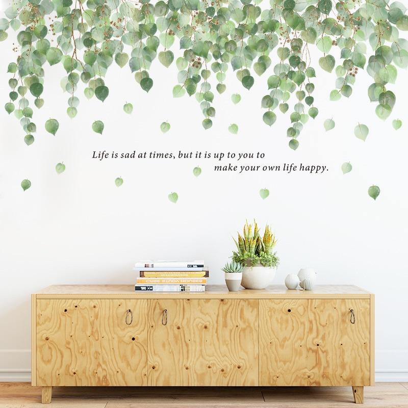 Большие настенные наклейки с зелеными лозами для спальни, гостиной, дивана, ТВ фона, декор стен, листья, растения, настенные наклейки, украше...