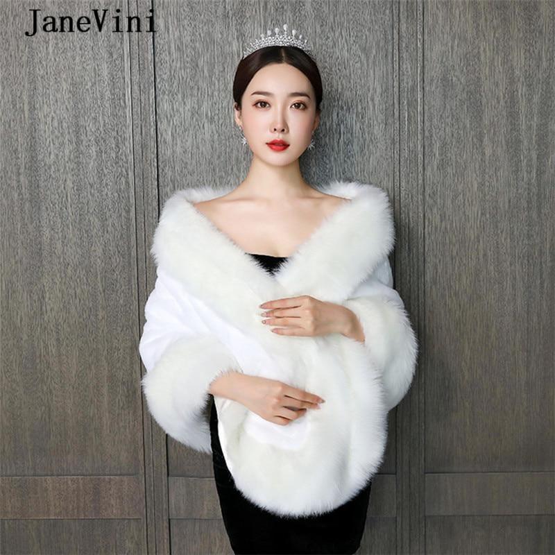 JaneVini Elegant Ivory Cape Cloak Bridal Faux Fur Wrap Winter Warm Large Shawl Jacket Plus Size Bolero Women Wedding Accessories