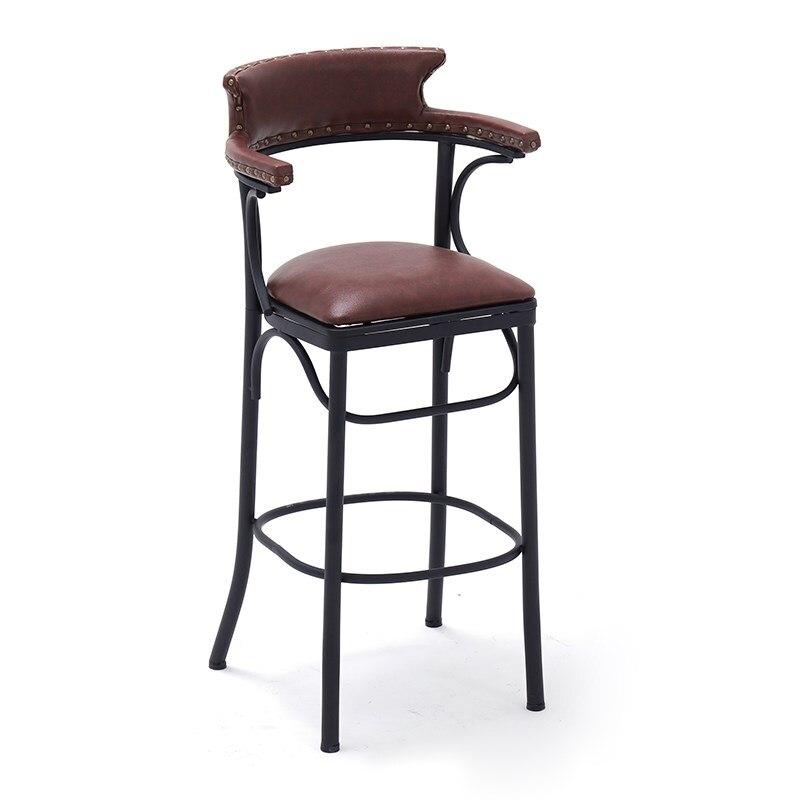 Retro Iron Bar Chair Home Nordic Backrest Bar Chair Modern Minimalist High Stool Light Luxury American Bar Stool