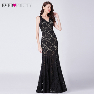 Image 2 - Sexy Black Lace Evening Dresses Long Ever Pretty Double V Neck Ruched See Through Little Mermaid Party Gowns Abiye Gece Elbisesi