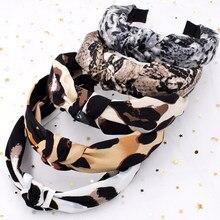 Bandeau large imprimé Animal, motif léopard, serpent, nœud croisé, cerceau, mode femmes filles, bandes de cheveux extensibles, accessoires pour cheveux