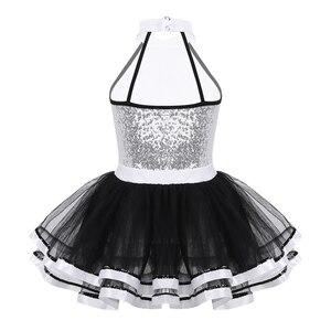 Image 2 - Iiniim Kinder Mädchen Moderne Dancewear Kostüm Größte Show mann Phantasie Glänzende Pailletten Dekorative Taste Gymnastik Trikot Tutu Kleid