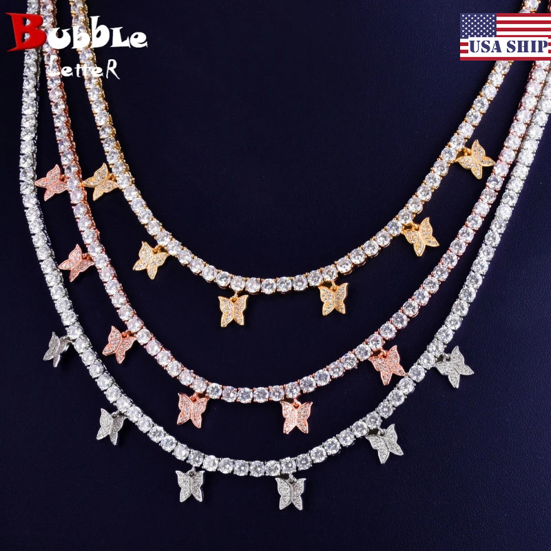 With Butterfly Pendant 4mm 1 Row Tennis Chain Gold Color Necklace Women Fashion  Jewelry Link Adjustable