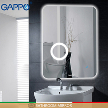Gappo Bath magnifier Mirrors Led cosmetic mirror wall mounted light bathroom makeup touch switch adjustable