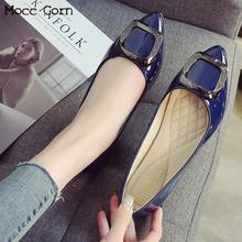 Large Size Women Flat Shoes Slip On Leather Shoes Crystal Loafers Fashion Ballerina Flats Casual Pointed Toe Lady Shoes Footwear suojialun women flat shoes pointed toe slip on woman oxfords flat shoes pu leather loafers female casual shoes women flats