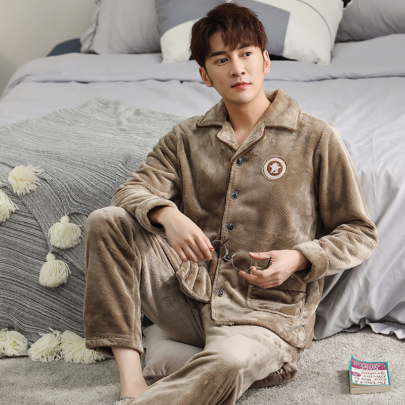 Coral Fleece Pajamas Men Cardigan Suit Can Be Worn Outside Thickened Autumn Plus Flannel Casual Home Wear Men's Winter 2020 New