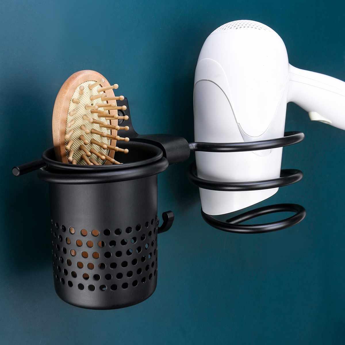 Estante para secador de pelo, espacio para ahorrar Metal para baño, soporte para pared sin rastro, estante de almacenamiento, soporte de secador de pelo, soporte para secador de pelo