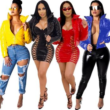 2020 women leather blazers and jackets plus size 5xl elegant turn down collar soft pu leather coat women black leather jacket JRRY Sexy Velvet PU Leather Coats Jackets Cotton Fake Leather Women Jacket Zippers Turn Down Collar Overcoat Plus Size XXXL