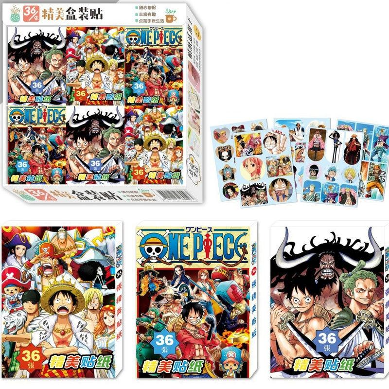 36pcs/Box One Piece Anime Sticker Paper Stickers Classic Toys Sticker