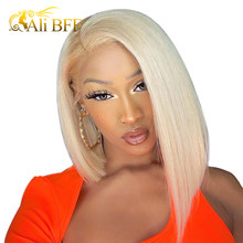 Blonde Lace Front Wig Brazilian 613 Short Bob Lace Front Human Hair Wigs For Black Women ALI BFF HD Transparent Lace Wig(China)