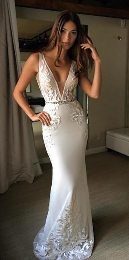 2019 Mermaid Satin Wedding Dress Lace Applique Simple And Sleek Wedding Gown V Neck Court Train Backless Vestidos De Noivas New Wedding Dresses Aliexpress