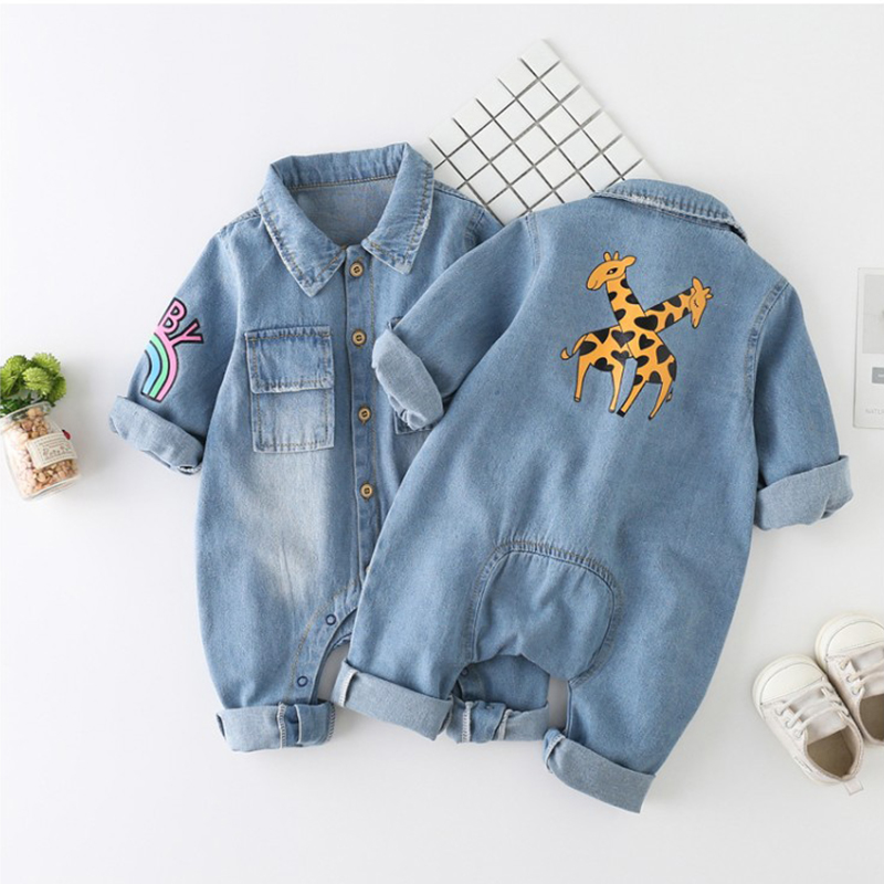 Newborn Baby Romper Spring Denim Jumpsuit Baby Girls Clothes Unisex Baby Clothes Kids Costume For Boys Clothes 0 3 <font><b>6</b></font> <font><b>12</b></font> <font><b>24</b></font> Month image