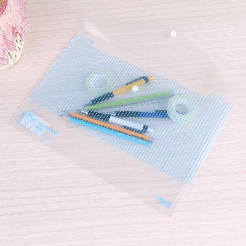 3Pcs Transparent Blue Stripe Documents Bag Push Botton Folder A4 File Cover Business Bill School Test Paper Stationery Bag 5630