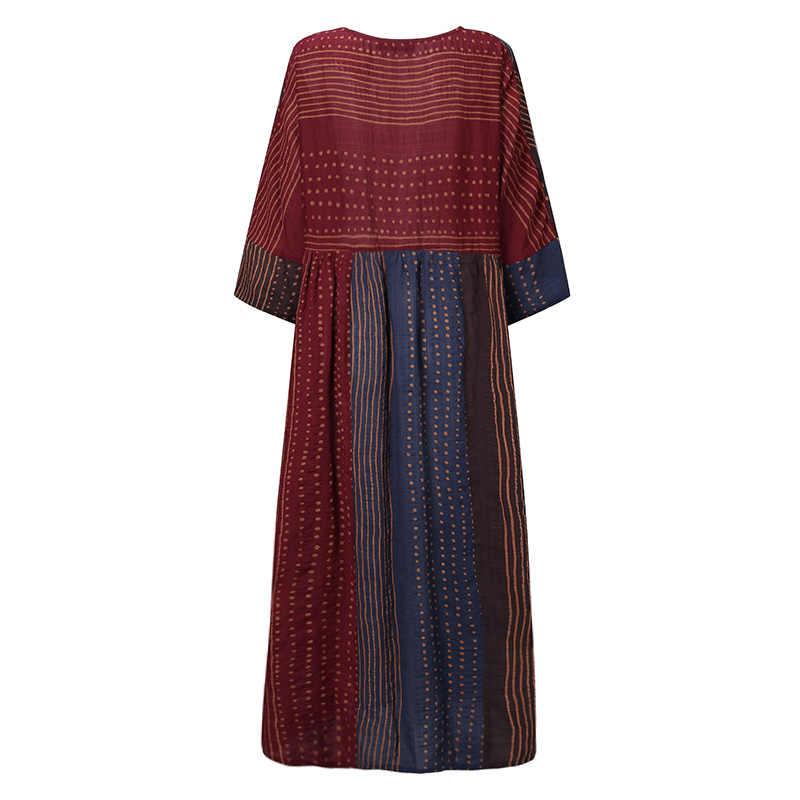 ZANZEA Women Bohemian Polka Dot Printed Dress Vintage Long Sleeve Loose Sundress Patchwork Party Vestido Kaftan Robe Dresses 7