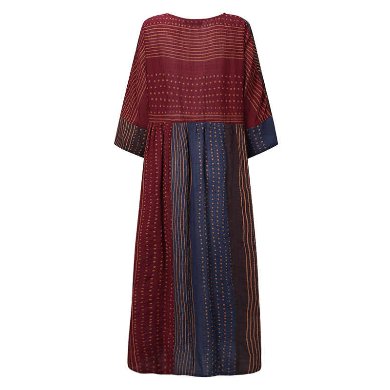 Zanzea Nữ Bohemia Chấm Bi In Hình Đầm Vintage Dài Tay Rời Sundress Miếng Dán Cường Lực Đảng Đầm Vestido Dài Áo Dây Áo 7